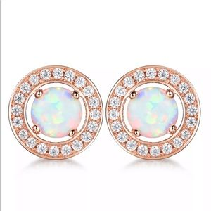 Jewelry - 💎 stunning Rose Gold Opal Plated Stud Earrings